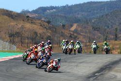 Leon Camier, MV Agusta leads from Michael van der Mark, Pata Yamaha