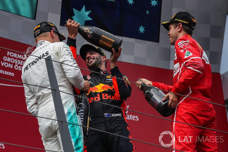 Y Ricciardo al menos se vengó con la botella.