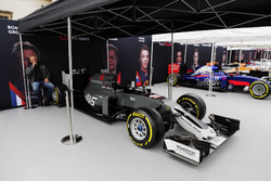 Haas F1 Team, Scuderia Toro Rosso, McLaren and Williams Formula 1 cars under awnings ahead of the London street demonstration