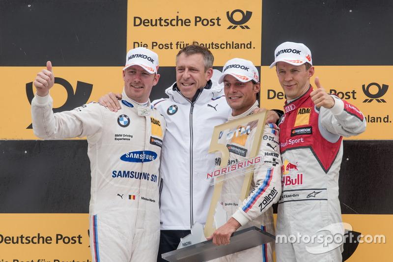 Podio: Ganador de la carrera Bruno Spengler, BMW Team RBM, BMW M4 DTM, segundo lugar Maxime Martin, BMW Team RBM, BMW M4 DTM, tercer lugar Mattias Ekström, Audi Sport Team Abt Sportsline, Audi A5 DTM, Bart Mampaey, director del BMW Team RBM