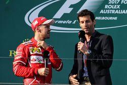 Podium: winner Sebastian Vettel, Ferrari, Mark Webber