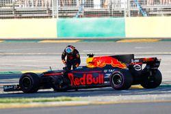 Daniel Ricciardo, Red Bull Racing RB13, est applaudi par le public après son abandon
