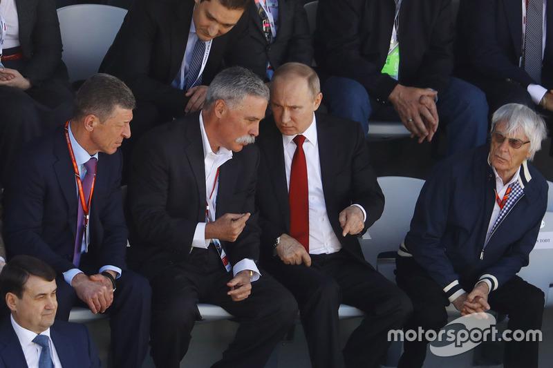 Russian Prime Minister Dimitry Medvedev, Chase Carey, Chairman, Formula One, President Vladimir Puti