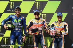 Polesitter Marc Marquez, Repsol Honda Team; 2. Valentino Rossi, Yamaha Factory Racing; 3. Dani Pedro