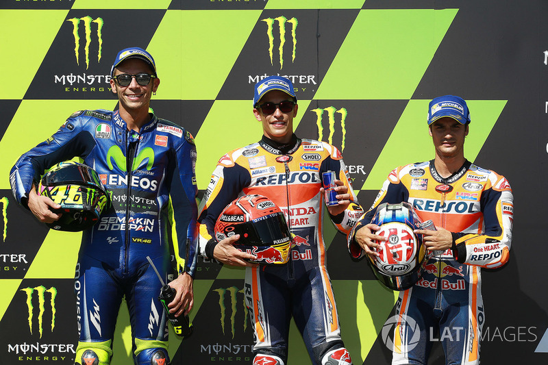 Polesitter Marc Marquez, Repsol Honda Team, second place Valentino Rossi, Yamaha Factory Racing, thi