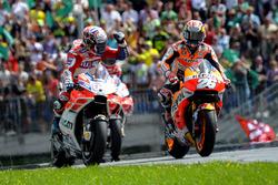 1. Andrea Dovizioso, Ducati Team; 3. Dani Pedrosa, Repsol Honda Team