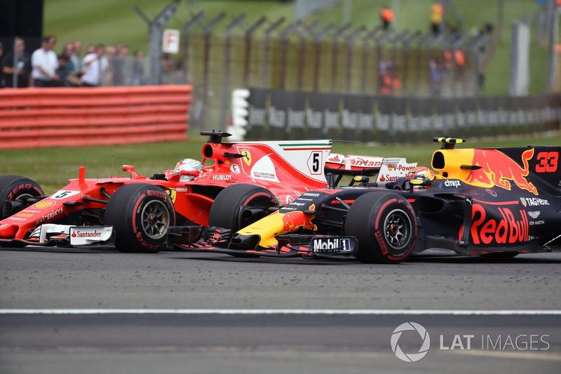 Себастьян Феттель, Ferrari SF70H, и Макс Ферстаппен, Red Bull Racing RB13