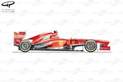 Vue latérale de la Ferrari F138, Brésil