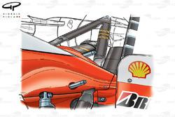 Capot moteur et suspension arrière de la Ferrari F2003-GA