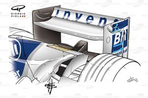 Williams FW36 rear wing, note louvres for drag reduction (blue arrows) and vertical slot at the back of the endplate