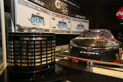 The Daytona 500 Trophy with the car of Denny Hamlin, Joe Gibbs Racing Toyota