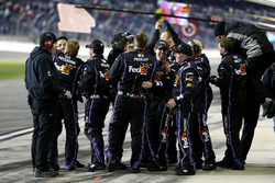 The team of Denny Hamlin, Joe Gibbs Racing Toyota celebrate