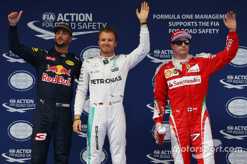 Polesitter Nico Rosberg, Mercedes AMG F1 Team, second place Daniel Ricciardo, Red Bull Racing, third place Kimi Raikkonen, Ferrari