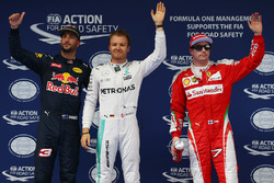 Polesitter Nico Rosberg, Mercedes AMG F1 Team, 2. Daniel Ricciardo, Red Bull Racing, 3. Kimi Räikkön