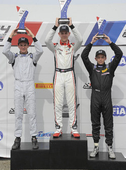 Podium: race winner Konrad Czaczyk, second place Kyle Kirkwood, third place Darren Keane