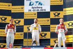 Podium: segundo, Mattias Ekström, Audi Sport Team Abt Sportsline, Audi A5 DTM; ganador, Timo Glock,