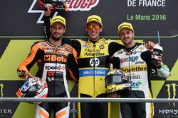 Podium: race winner Alex Rins, second place Simone Corsi, third place Thomas Lüthi