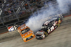 Crash for Daniel Suarez, Joe Gibbs Racing Toyota, Erik Jones, Joe Gibbs Racing Toyota