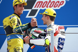 Second place Alex Rins, Paginas Amarillas HP 40, race winner Lorenzo Baldassarri, Forward Racing