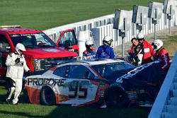 Kasey Kahne, Leavine Family Racing Chevrolet Camaro after a crash