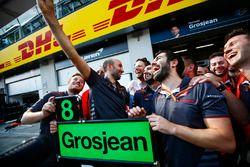 Romain Grosjean, Haas F1 Team y Haas F1 team celebran el mejor final del equipo hasta el momento