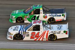 Justin Haley, GMS Racing, Chevrolet Silverado Fraternal Order Of Eagles and Ben Rhodes, ThorSport Racing, Ford F-150 Alpha