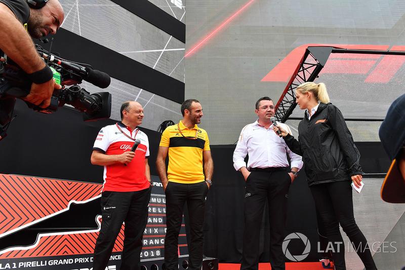 Frédéric Vasseur, team principal Sauber, Cyril Abiteboul, directeur général de Renault Sport Racing et Éric Boullier, directeur de la compétition de McLaren