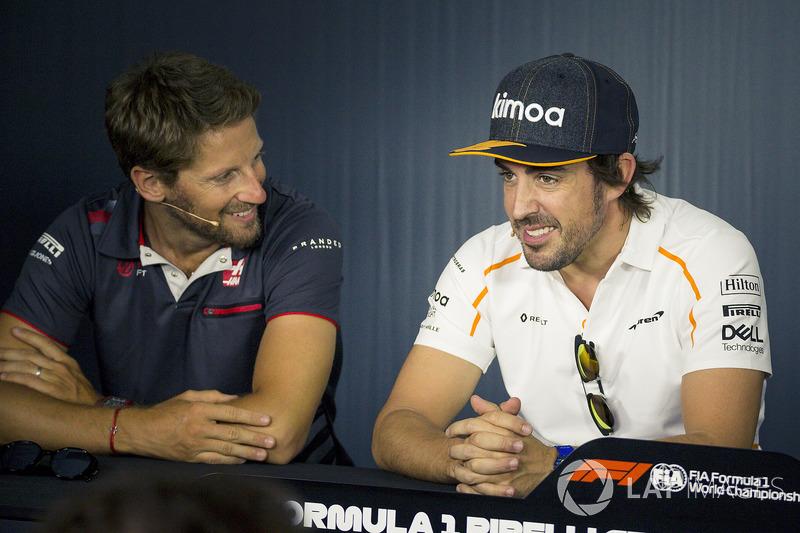 Romain Grosjean, Haas F1 and Fernando Alonso, McLaren in the Press Conference