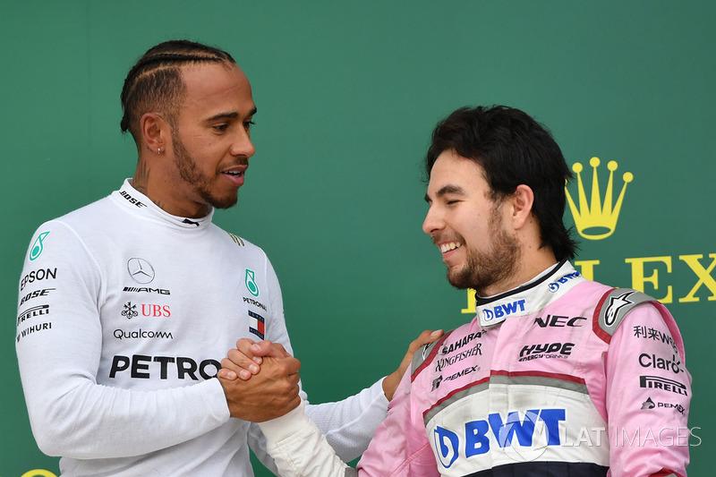 Podium: race winner Lewis Hamilton, Mercedes-AMG F1, Ferrari, third place Sergio Perez, Force India