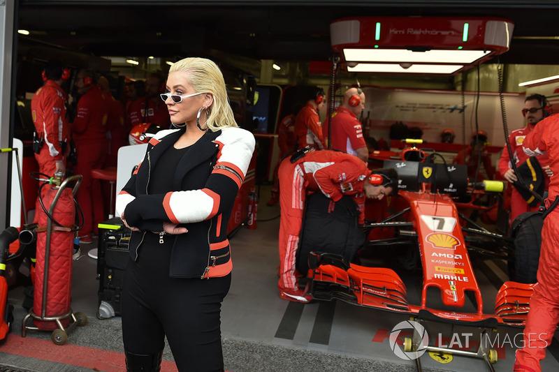 Christina Aguilera, at the Ferrari garage