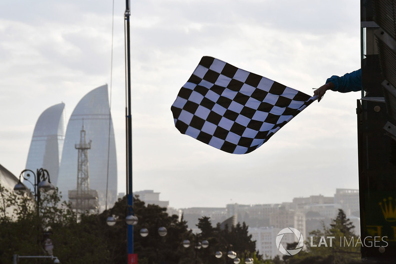 The chequered flag is waved