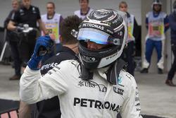 Valtteri Bottas, Mercedes AMG F1, celebrates pole in Parc Ferme