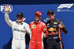 Valtteri Bottas, Mercedes-AMG F1, Sebastian Vettel, Ferrari and Max Verstappen, Red Bull Racing cele