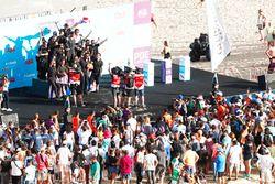 Jean-Eric Vergne, Techeetah, celebrates on the podium with his team