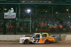 Chase Briscoe, ThorSport Racing, Ford F-150 Ford drives under the checkered flag to win