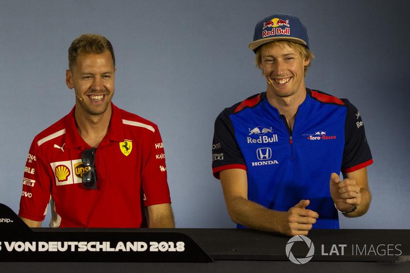 Sebastian Vettel, Ferrari and Pierre Gasly, Scuderia Toro Rosso, en conférence de presse