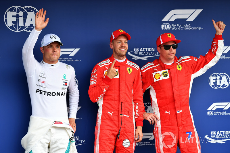 Valtteri Bottas, Mercedes-AMG F1, Sebastian Vettel, Ferrari amd Kimi Raikkonen, Ferrari celebrate in parc ferme