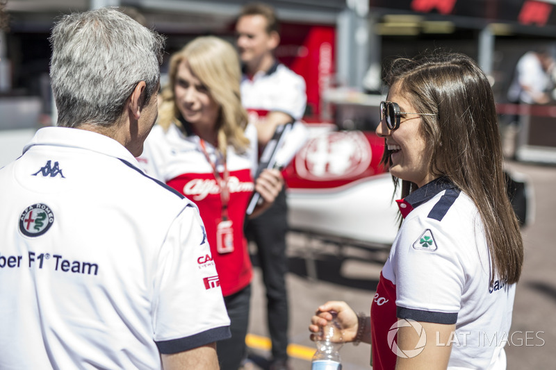 Tatiana Calderon, Sauber Test Driver and Xevi Pujolar, Sauber Head of Track Engineering