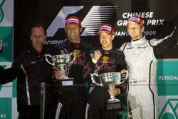 Podium : Christian Horner, Red Bull Racing Team Principal, le second Mark Webber, Red Bull Racing,