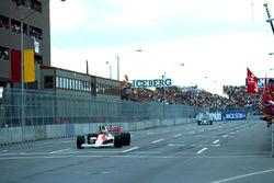 Race winner Ayrton Senna, Mclaren, second place Jean Alesi, Tyrrell