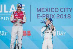 Daniel Abt, Audi Sport ABT Schaeffler, celebrates on the podium after winning the race with Sébastie