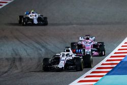 Lance Stroll, Williams FW41 Mercedes, Sergio Perez, Force India VJM11 Mercedes, and Sergey Sirotkin, Williams FW41 Mercedes