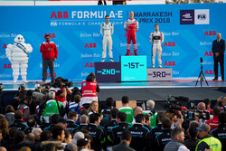 Felix Rosenqvist, Mahindra Racing, Sébastien Buemi, Renault e.Dams, Sam Bird, DS Virgin Racing, pody