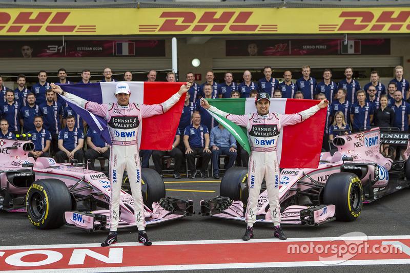 Esteban Ocon. Sahara Force India, Sergio Pérez, Sahara Force India y el equipo