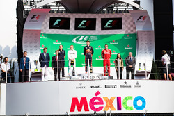 Podium: race winner Max Verstappen, Red Bull Racing, second place Valtteri Bottas, Mercedes AMG F1,