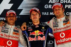 Podium: Race winner Sebastian Vettel, Red Bull Racing, second place Lewis Hamilton, McLaren, third place Jenson Button, McLaren
