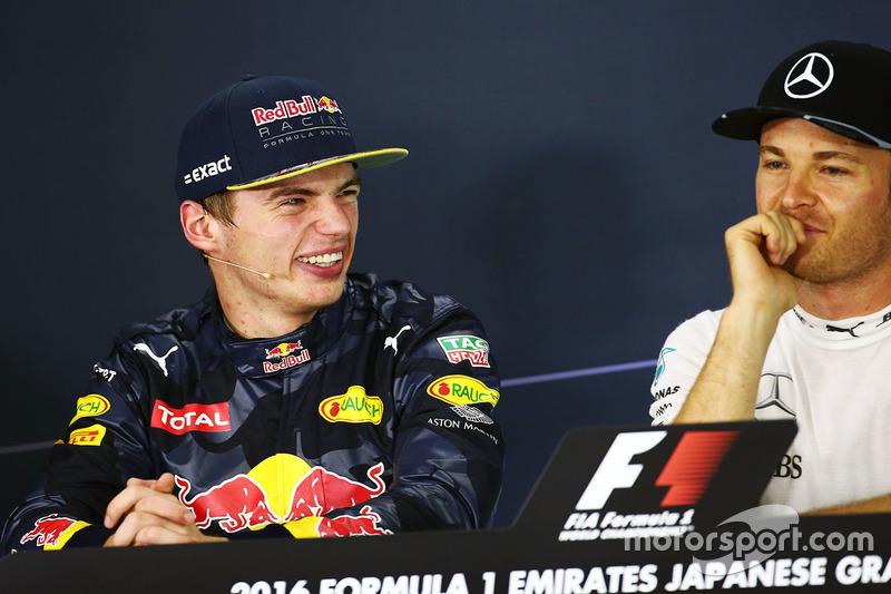 Pressekonferenz: Max Verstappen, Red Bull Racing; Nico Rosberg, Mercedes AMG F1