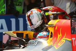 Race winner Max Verstappen, Red Bull Racing RB12 celebrates in parc ferme with third placed Sebastian Vettel, Ferrari
