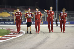 Sebastian Vettel, Ferrari walks the track with the team