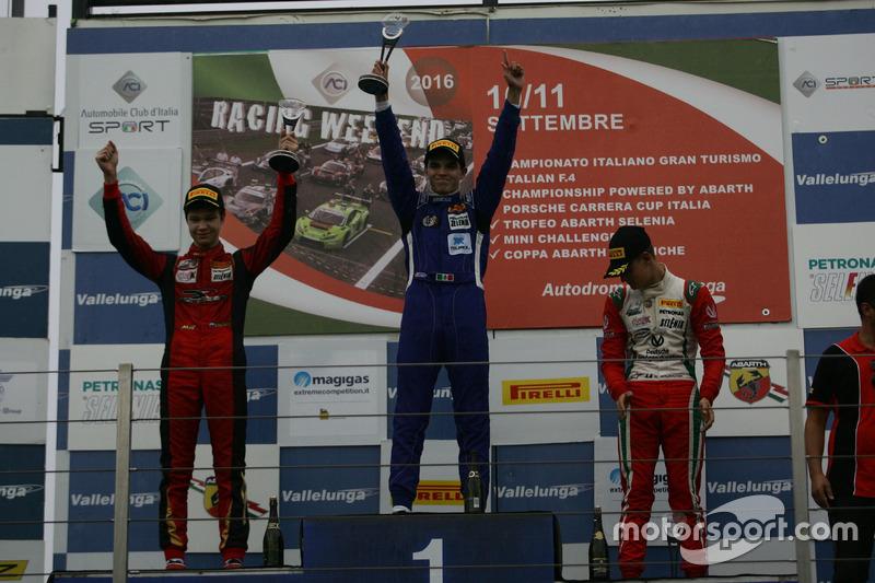 Podio carrera 1: segundo lugar Artem Petrov, DR Formula, ganador de la carrera Raúl Guzmán Marchina,